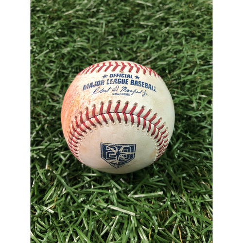 Photo of 20th Anniversary Game Used Baseball: Jake Bauers walk off Xavier Cedeno. C.J. Cron strike out and Ji-Man Choi 2RBI single off Jeanmar Gomez. Kevin Kiermaier at-bat against Jace Fry - August 5, 2018 v CWS