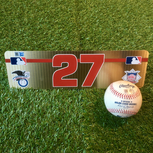 Photo of Game-Used Baseball and Team-Issued Locker Nameplate: Mike Trout 1,212th Career Hit (LAA @ KC - 4/28/19)