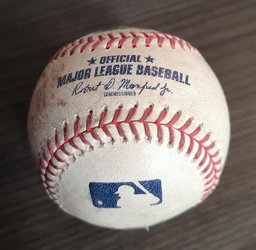 Photo of Authenticated Game Used Baseball: Strikeout by Neil Ramirez against Alex Bregman (Aug 30, 19 vs HOU). Top 7.