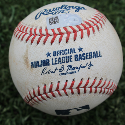 Photo of Game-Used Baseball: Jorge Soler 91st Career Double (ATL @ KC - 9/24/19)
