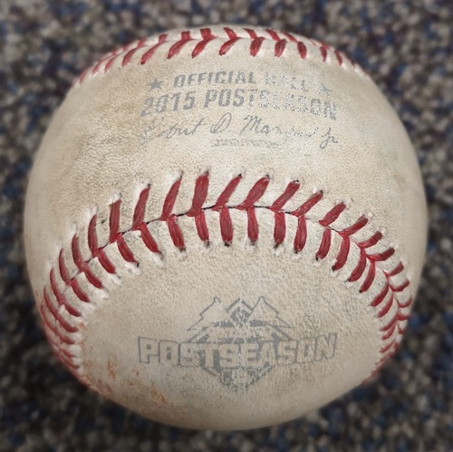 Photo of Authenticated Game Used Postseason Baseball - Pitch in the Dirt by Marcus Stroman against Alex Gordon (ALCS Game 3: Oct 19, 15 vs KCR). Top 6.