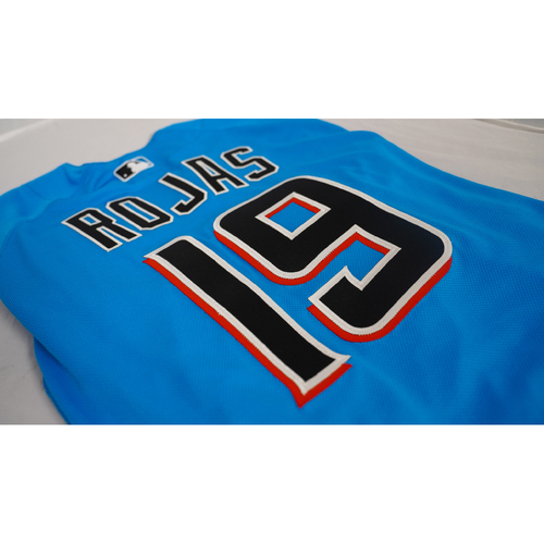 """Photo of Miguel Rojas Team-Issued Jersey with Specialty """"Peaceful Protest"""" Air Force 1 Sneakers Designed by Julian Reams - @jubeanski - Jersey Size 46"""