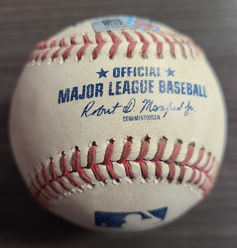 Photo of Authenticated Game Used Baseball: 3 RBI Double by Owen Miller against Tayler Saucedo (Aug 4, 2021 vs CLE). Top 8.
