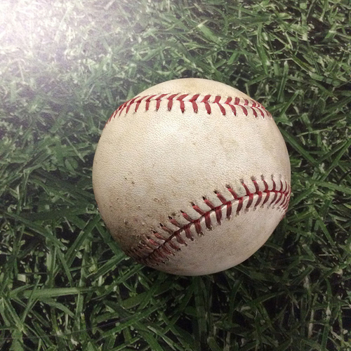 Photo of Game-Used Baseball BOS@MIL  05/11/17 - Jimmy Nelson - Mookie Betts: Strike