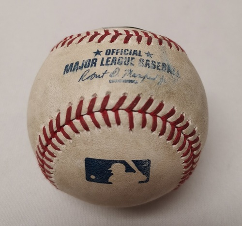 Photo of Authenticated Game Used Baseball - Edwin Encarnacion RBI Double against Blaine Boyer (August 3, 2015 vs MIN). Bottom 7.