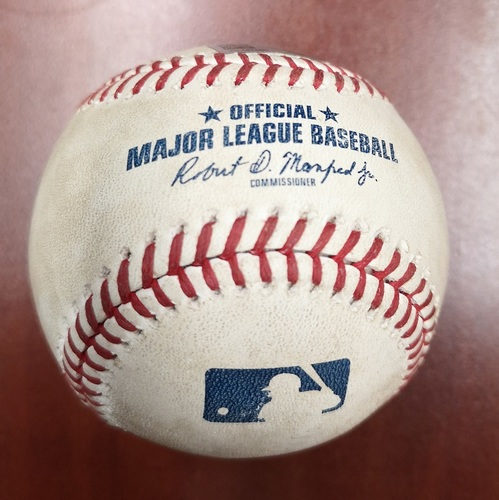 Photo of Authenticated Game Used Baseball - Singles by Jorge Polanco and Nelson Cruz against Marcus Stroman (May 6, 2019 vs MIN). Top 1.