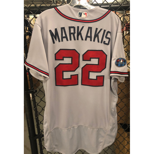 Photo of Nick Markakis Game Used Road Grey Jersey - Worn 8/3/2018