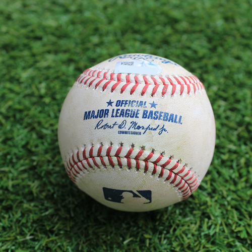 Photo of Game-Used Baseball: Willie Calhoun 34th Career Hit and 18th and 19th Career RBI (TEX @ KC - 5/16/19)