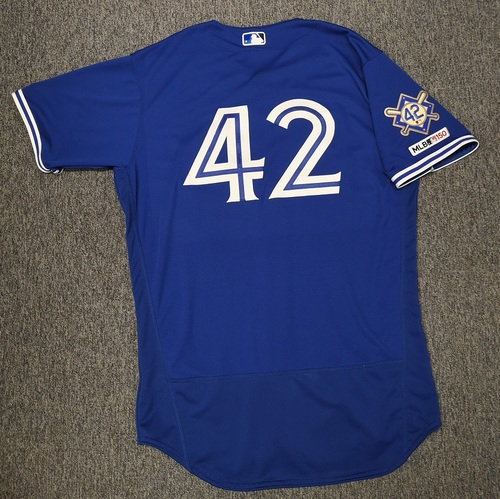 Photo of Charity Auction - Authenticated Game Used #42 Jersey - Socrates Brito (April 15, 19: Pinch Runner. Scored 1 Run). Size 46