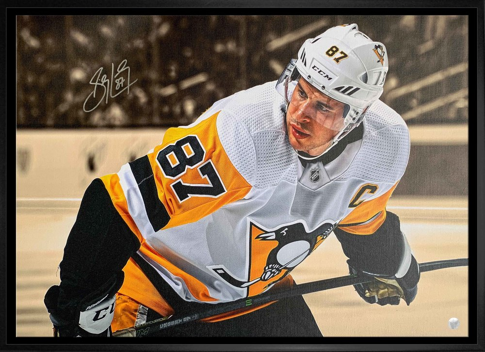 Sidney Crosby Signed 20x29 Canvas Framed Penguins White Close-Up Leaning