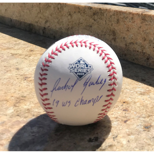 Photo of Anibal Sanchez Autographed 2019 World Series Champions Baseball