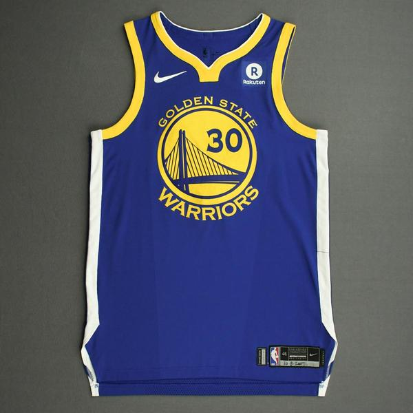Image of Stephen Curry - Golden State Warriors - NBA China Games - Game-Worn Icon Edition Jersey - Scored a Game-High 40 points - 2017-18 NBA Season