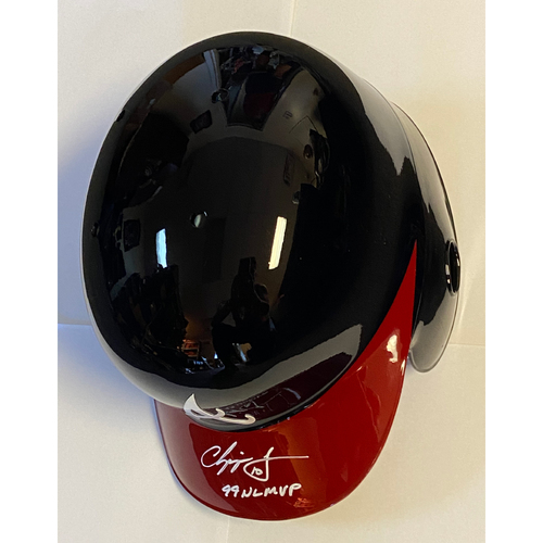 "Photo of Chipper Jones ""99 NL MVP"" Autographed Replica Braves Batting Helmet"