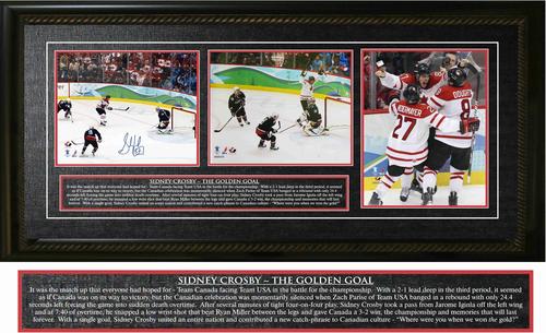 Sidney Crosby Signed 2010 Team Canada Golden Goal Triple 8x10 Photos Framed