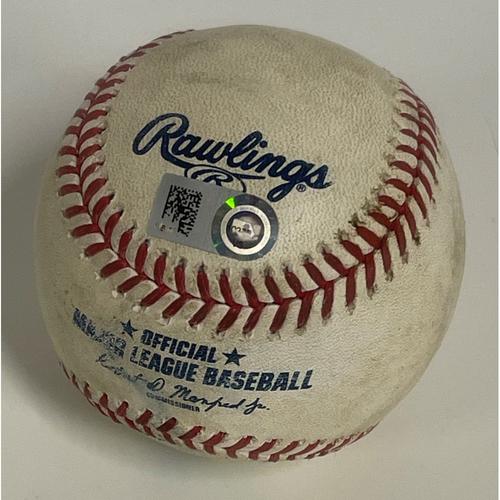 Photo of Game-used Baseball - Jose Ramirez double off Jimmy Cordero - 9/21/2020 - White Sox at Indians