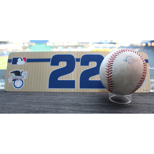 Photo of Team-Issued Nameplate and Game-Used Baseball: Robinson Cano 2,389th Career Hit (SEA at KC - 4/11/18)