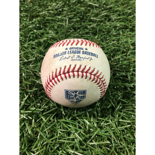 Photo of 20th Anniversary Game Used Baseball: Alcides Escobar double off Sergio Romo - August 21, 2018 v KC