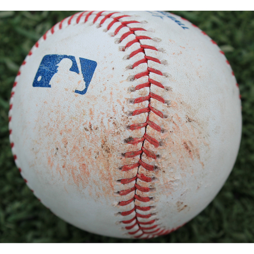 Photo of Game-Used Baseball: Heath Fillmyer Pitched Strikeout to Omar Narvaez (SEA @ KC - 4/10/19)