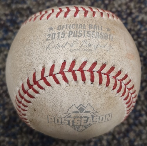 Photo of Authenticated Game Used Postseason Baseball - Foul by Alcides Escobar against Liam Hendriks (ALCS Game 4: Oct 20, 15 vs KCR). Top 5.