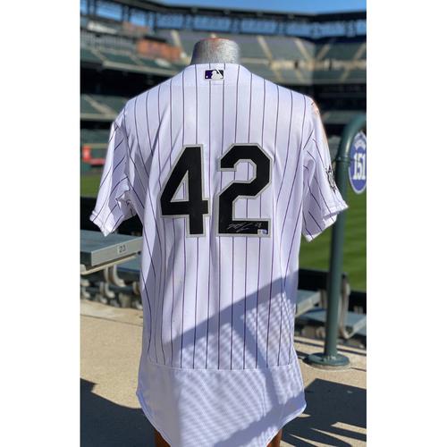 Photo of Colorado Rockies Foundation:Game-Usedand AutographedJackie Robinson Day Jersey - Nolan Arenado- Padres at Rockies - August 28, 2020.