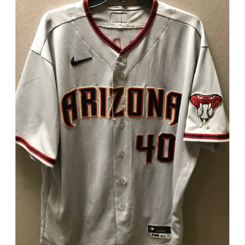 Photo of 3-Time World Series Champion Madison Bumgarner 2020 Team-Issued Road Gray Jersey - Size 50 + 0.5S