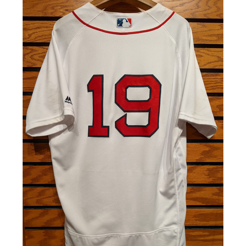 Photo of Jackie Bradley Jr. #19 Game Used White Home Jersey