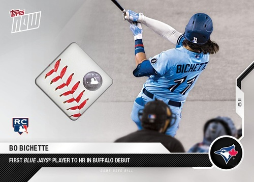 Photo of Authenticated 2020 Topps Now Relic Card with Piece of Game Used Baseball: Aug 11, 2020 vs MIA featuring image of Bo Bichette and the 1st Blue Jays HR in Buffalo. This was the 1st Blue Jays Game in Buffalo. Serial # Ranging from 6-10 out of 10 (1 card)