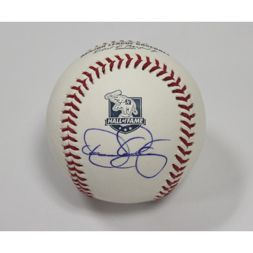 Photo of Dennis Eckersley Autographed A's Hall of Fame Baseball
