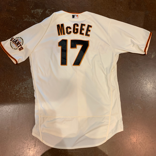 Photo of 2021 Game Used Home Cream Jersey worn by #17 Jake McGee on 4/9 vs. COL - Home Opening Day - Save #3 of 2021 & 4/10 vs. COL - Save #4 of 2021 - Size 48
