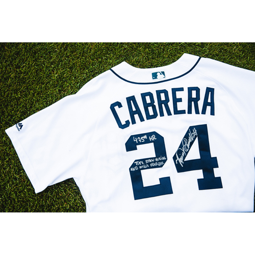Photo of Cabrera Exclusive! Miguel Cabrera Autographed Game-Used Home Jersey (HR #475) (MLB AUTHENTICATED)