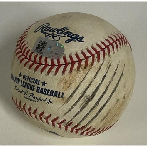 Photo of Game-Used Baseball - Carlos Santana Home Run off Jake Junis -9/8/2020 - Royals at Indians