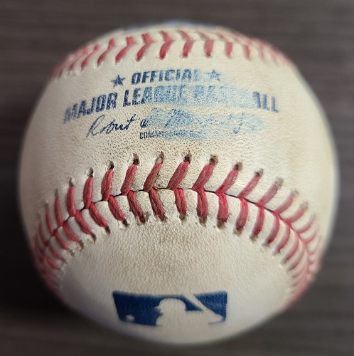 Photo of Authenticated Game Used Baseball: Double by Alex Verdugo against Alek Manoah (Aug 6, 2021 vs BOS). Top 4.