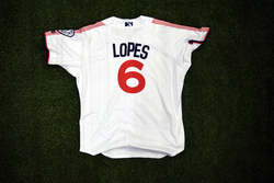 Photo of #6 Game Worn Home Jersey, Size 44, worn by Tim Lopes.