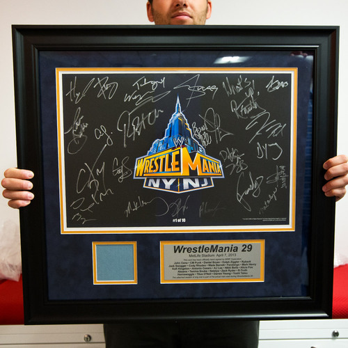WrestleMania SIGNED Plaque with piece of USED Ring Canvas (#1 of 10)