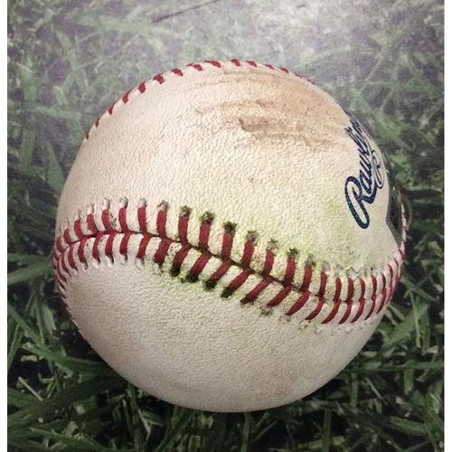 Photo of Game-Used Baseball 04/08/18 CHC@MIL - Jose Quintana to Lorenzo Cain: Single