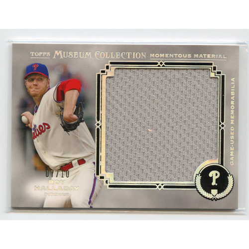 Photo of 2013 Topps Museum Collection Momentous Material Jumbo Relics Silver Rainbow Roy Halladay 07/10