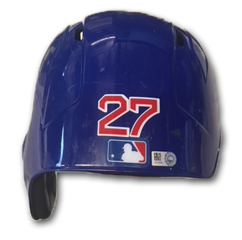 Photo of Addison Russell Team-Issued Cracked Batting Helmet -- Size 7 3/8