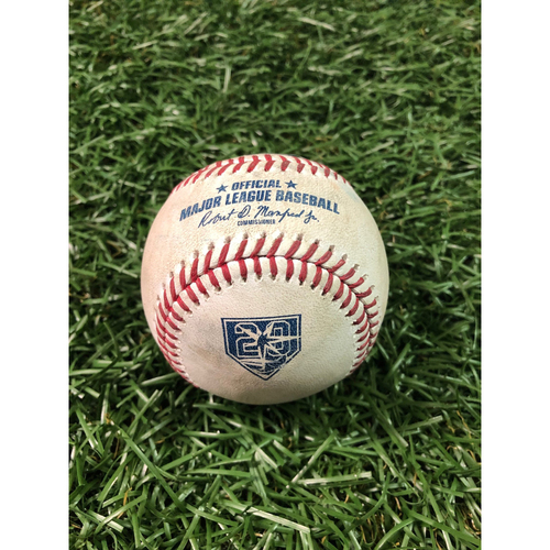 Photo of 20th Anniversary Game Used Baseball: Jake Junis strikes out Willy Adames - August 22, 2018 v KC