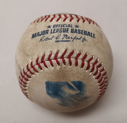 Photo of Authenticated Game Used Baseball - Chase Headley Double against David Price (August 14, 2015 vs NYY). Top 6.