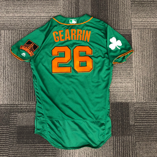 Photo of 2018 Spring Training St. Patrick's Day Jersey - worn by #62 Cory Gearrin - Team Issued - size 46