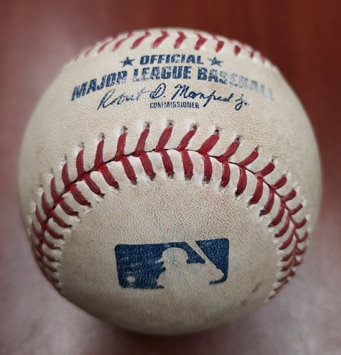 Photo of Authenticated Game Used Baseball - Double by Jonathan Schoop against Marcus Stroman (May 6, 2019 vs MIN). Top 4.