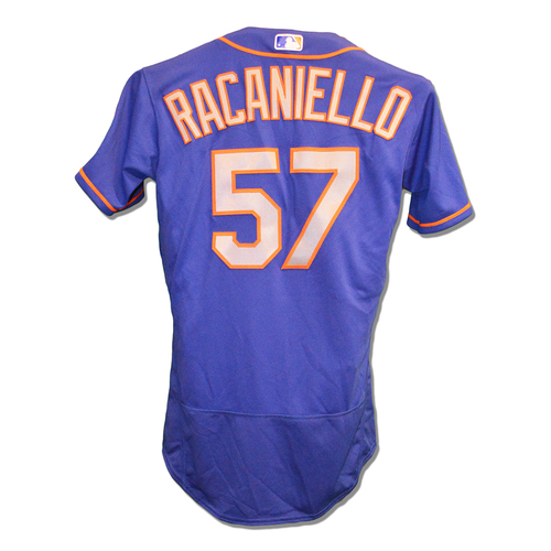 Photo of Dave Racaniello #57 - Game Used Blue Alt. Road Jersey - Mets vs. Nationals - 9/22/2018