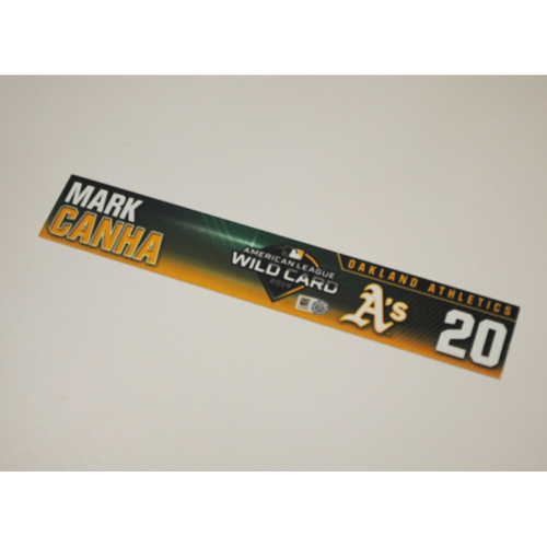 Photo of Mark Canha Game-Used AL Wild Card Game Locker Nameplate