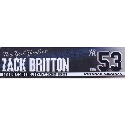 Photo of Zach Britton New York Yankees Game-Used #53 Navy Nameplate from the MLB ALCS vs. Houston Astros on October 15, 2019