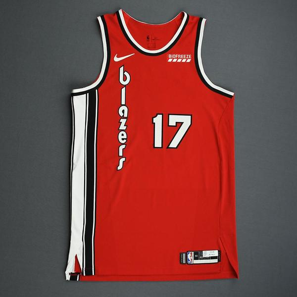 Image of Skal Labissiere - Portland Trail Blazers - Game-Worn Classic Edition 1975-77 Road Jersey - 2019-20 NBA Season