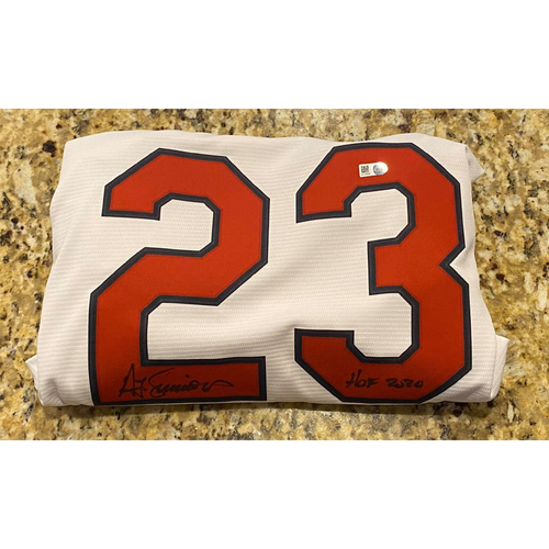 "Photo of Ted Simmons ""HOF 2020"" Autographed White Replica Cardinals Jersey"
