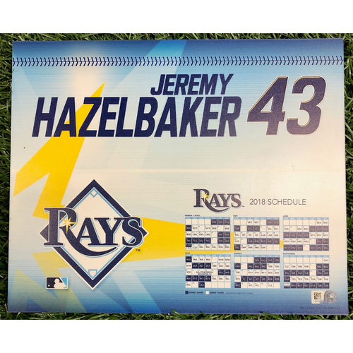 Photo of Rays Baseball Foundation: Team Issued Locker Tag: Jeremy Hazelbaker - 2018 Season