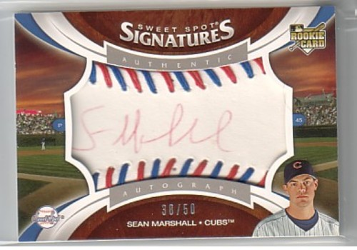 Photo of 2006 Sweet Spot Update Rookie Signatures Red-Blue Stitch Red Ink #165 Sean Marshall/50