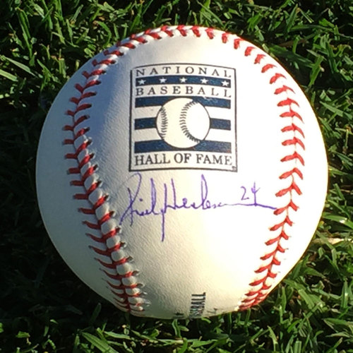 Photo of Rickey Henderson Hall of Fame Autographed Baseball