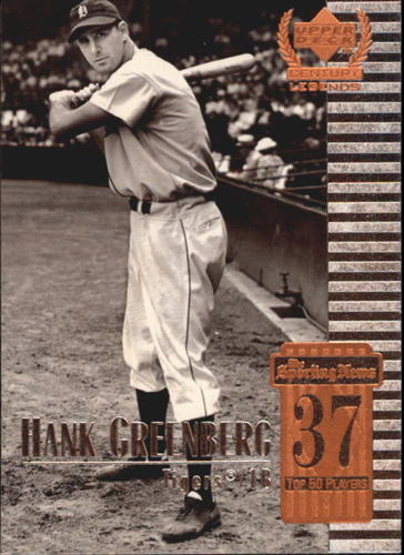 Photo of 1999 Upper Deck Century Legends #37 Hank Greenberg -- Hall of Fame Class of 1956